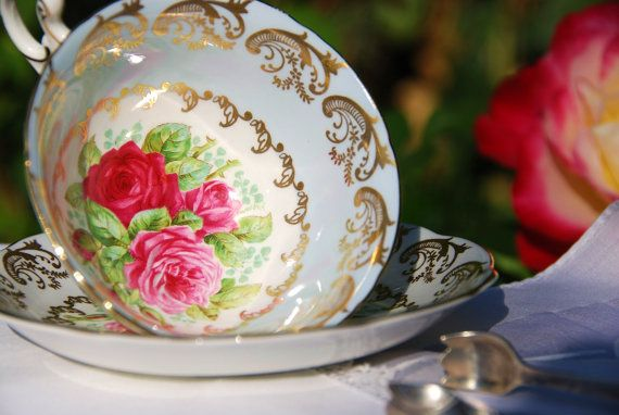 Beautiful EB Foley Tea Cup Saucer, Blue, Roses, England