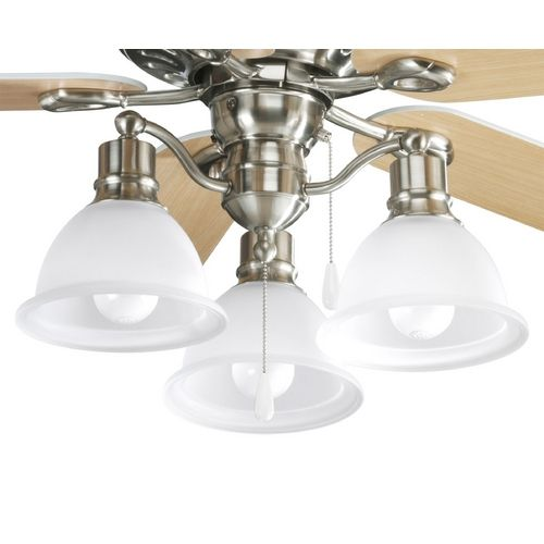 Progress light kit with white glass in brushed nickel finish ceiling fan lightsceiling