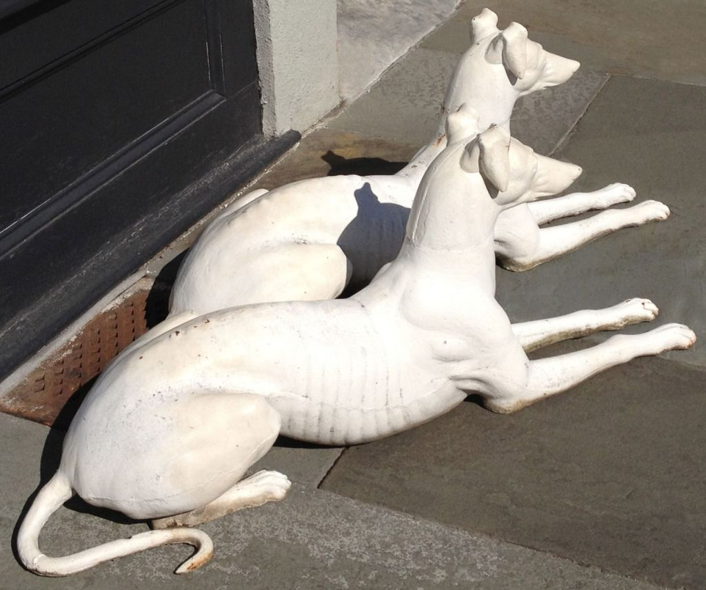 A Wonderful Pair Of American Cast Iron Greyhounds Statues