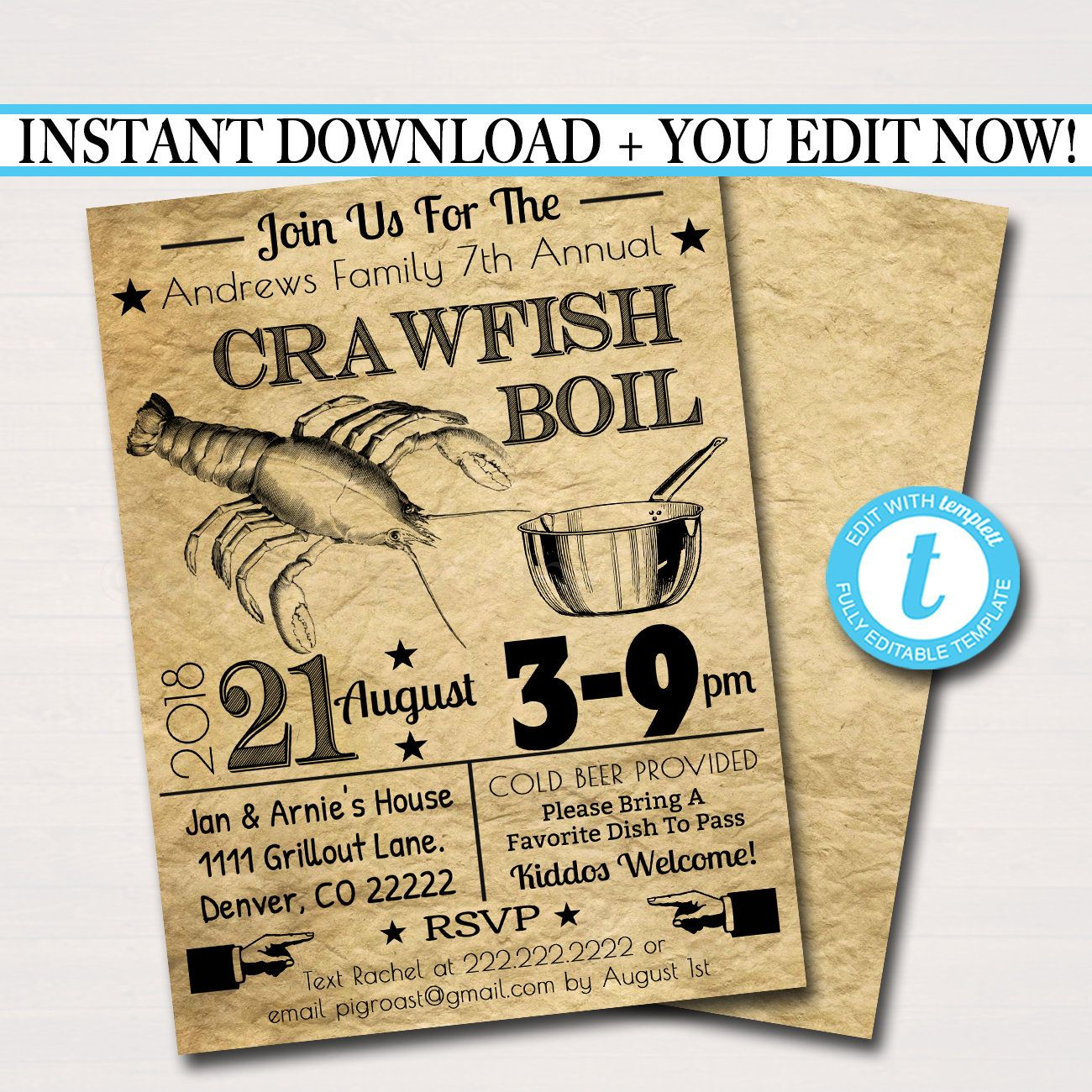 EDITABLE Crawfish Boil Invitation, Company Picnic, Family Picnic BBQ, Seafood Lobster Shrimp Boil, Barbecue Summer Backyard Party Invite