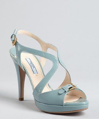 Not usually into pastels, but I love this. Prada style #320336901 lake patent leather strappy buckle detail platform sandals