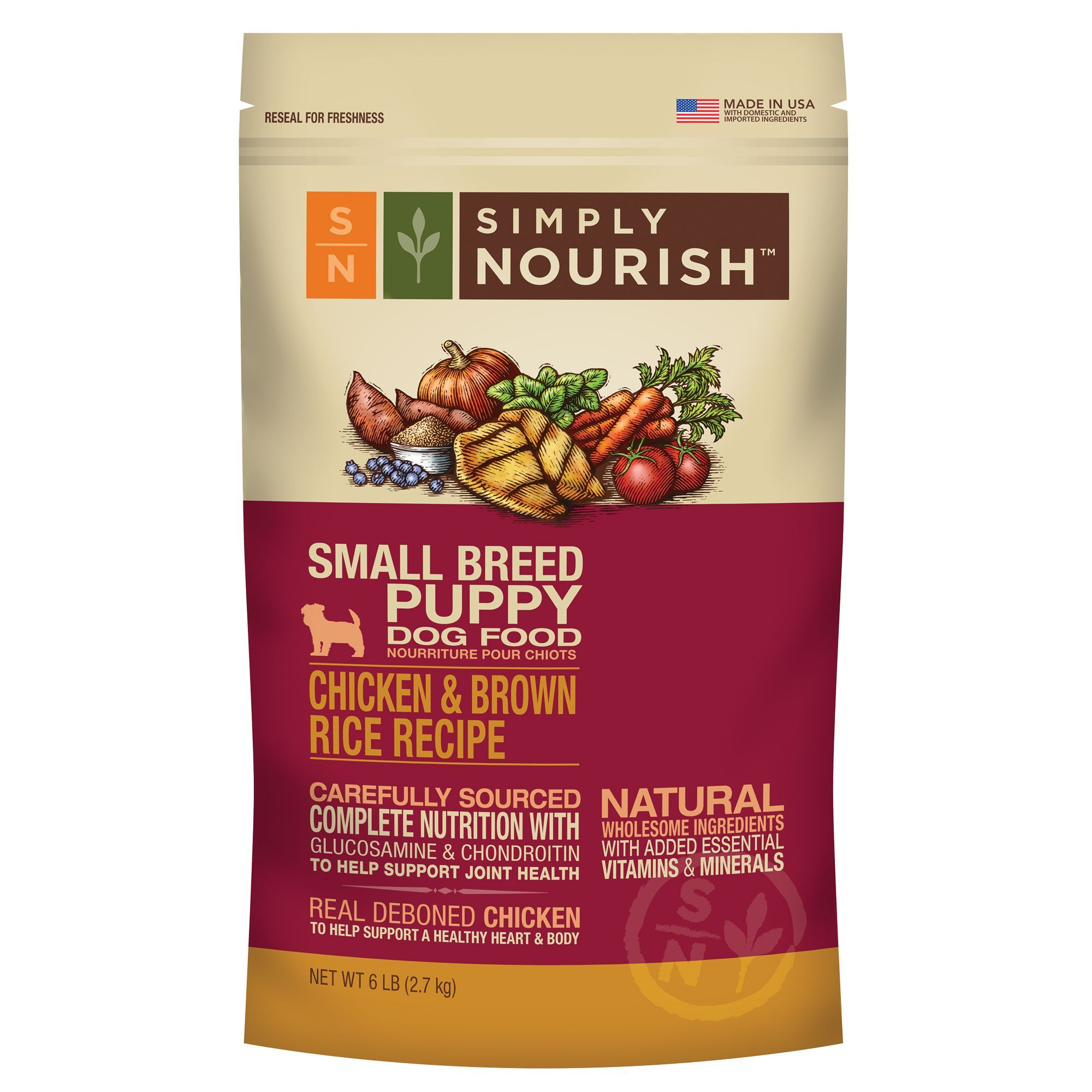 Simply Nourish Small Breed Puppy Food Natural Chicken And