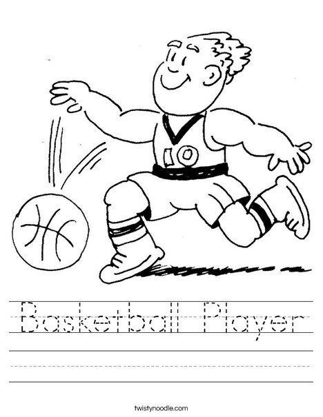 Worksheets Basketball Worksheets basketball player dribbling worksheet for kids sport theme worksheet