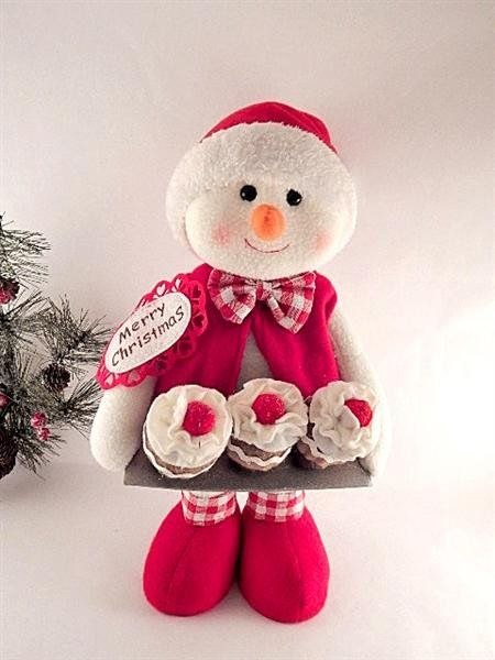 cupcake baker snowman christmas decoration 16 tall free standing wooden framed fleece tj collections mitchell