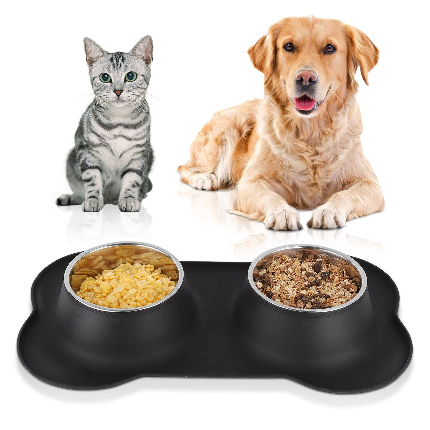 Moma Home Dog Bowls Stainless Steel Set Of 2 Dishes Feeder Food And Water Bowls With No Spill And Non Skid Bone Shape Silicone Dog Bowls Dog Feeding Pet Bowls
