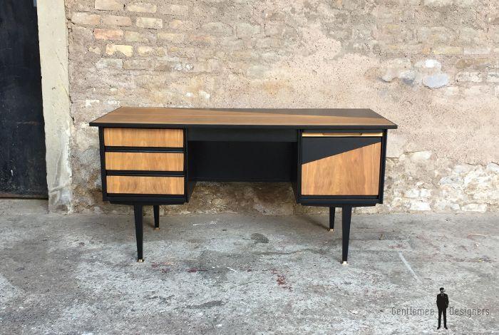 Vintage Bureau Noir Et Bois
