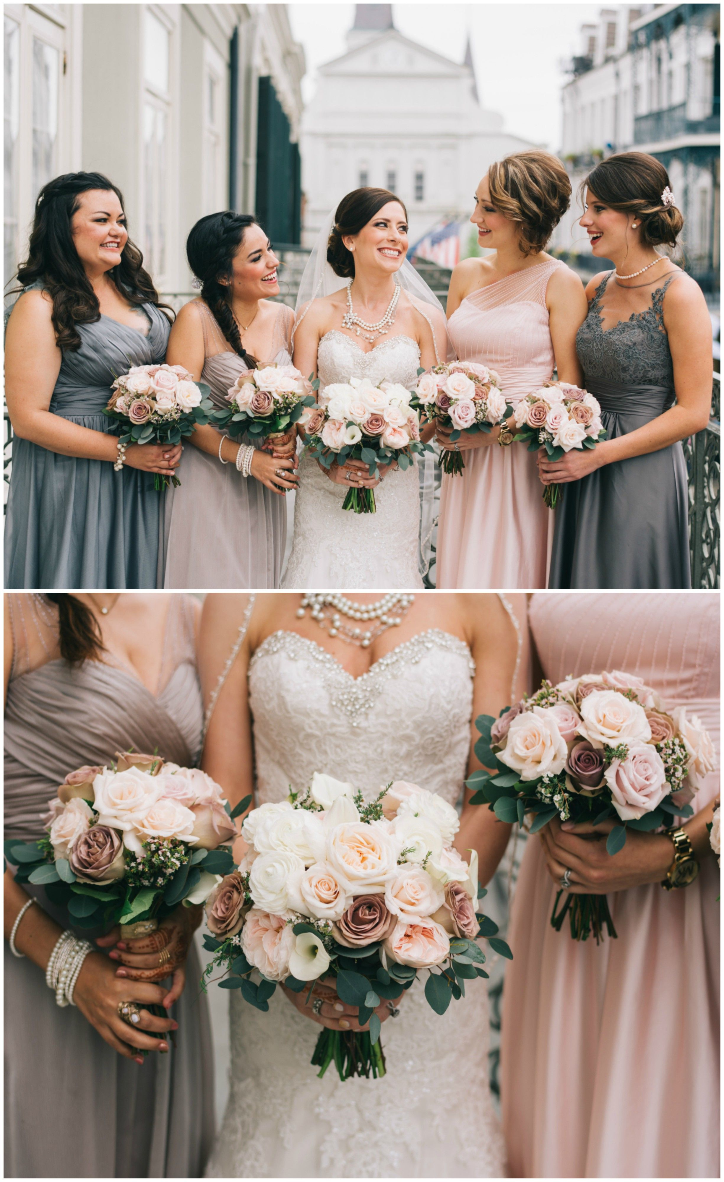 Classic spring wedding in new orleans new orleans la bridal grey and pink bridesmaid dresses mismatched styles new orleans bridal party wedding bouquets ombrellifo Images