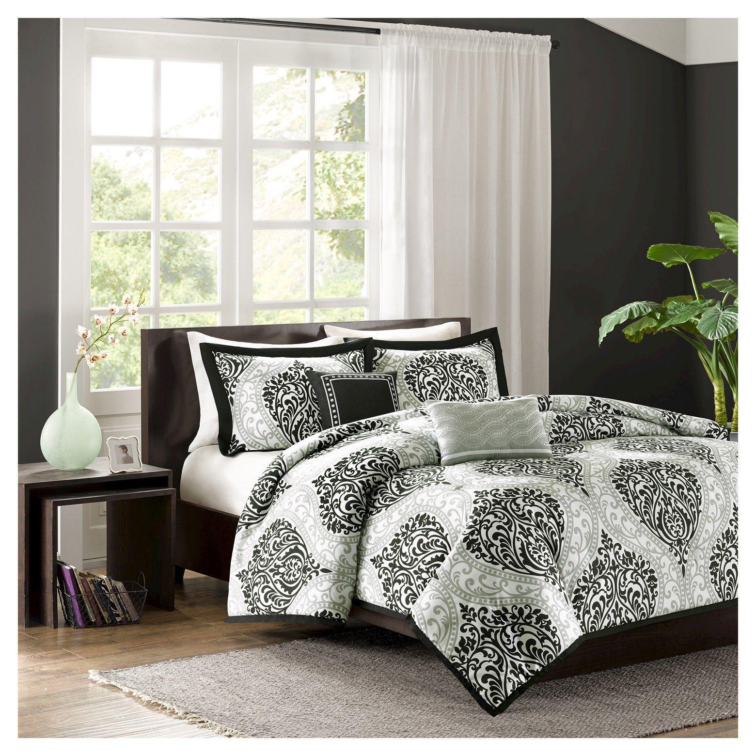 Chelsea Damask Print Duvet Cover Set Comforter sets