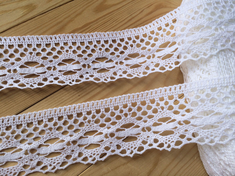 50mm Cotton Lace Trimming White per metre