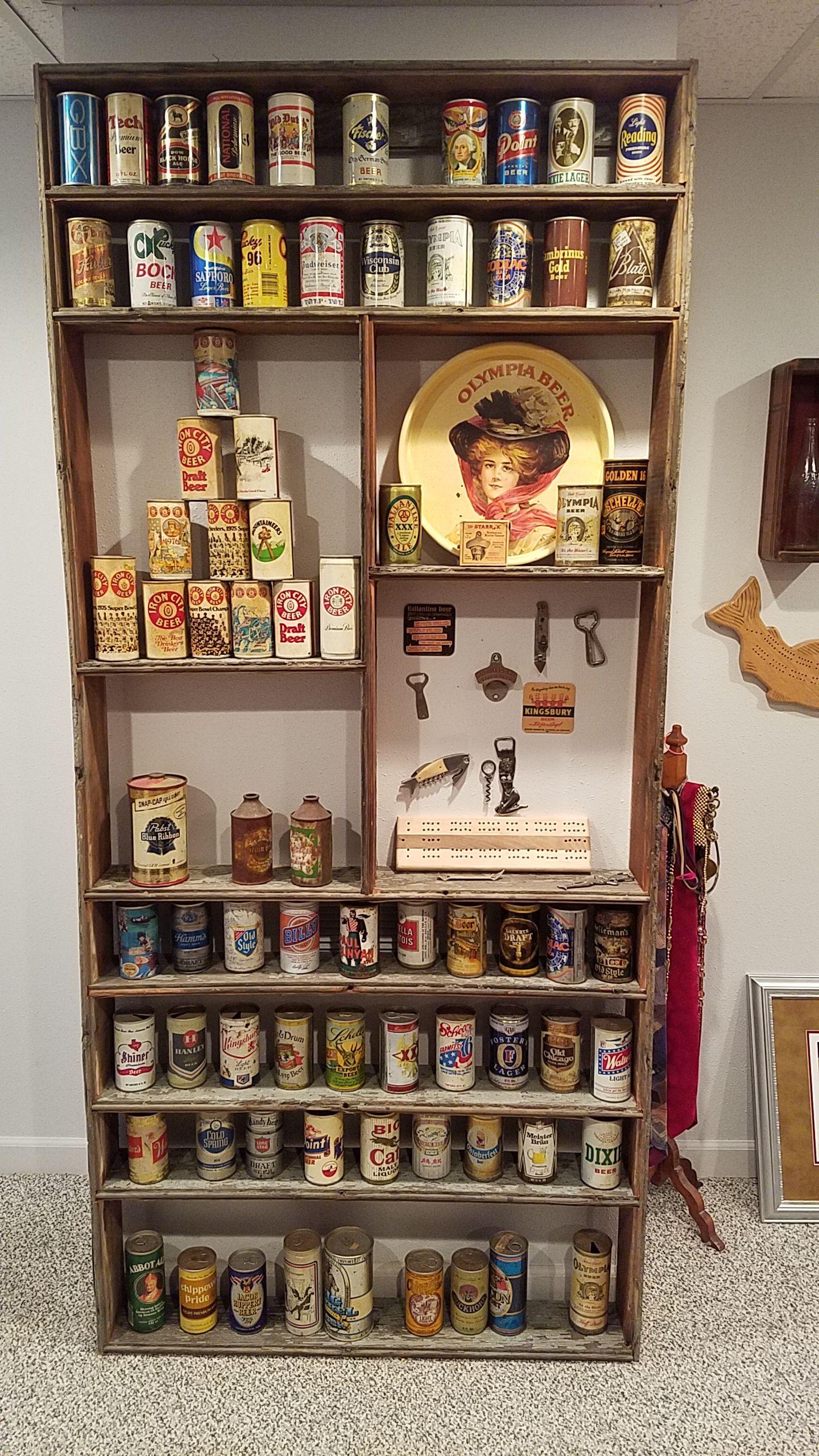 Custom Barn Wood Display Shelf Created To Hold A Old Beer