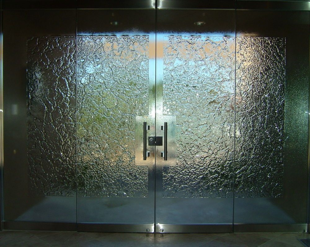 Glass Stone Frameless Entry Inside Cast Glass All
