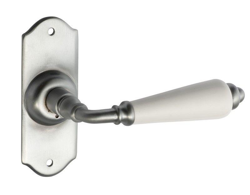 Satin Chrome Door Handles - Small Monaco White Porcelain Range ...