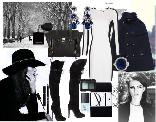 """""""Black, Blue, and White in the Snow"""" by diamondsfade ❤ liked on Polyvore"""