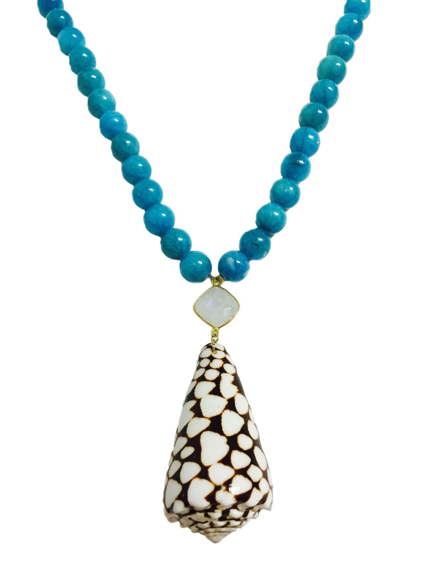 Cone Shell With Moonstone and Jade Beads