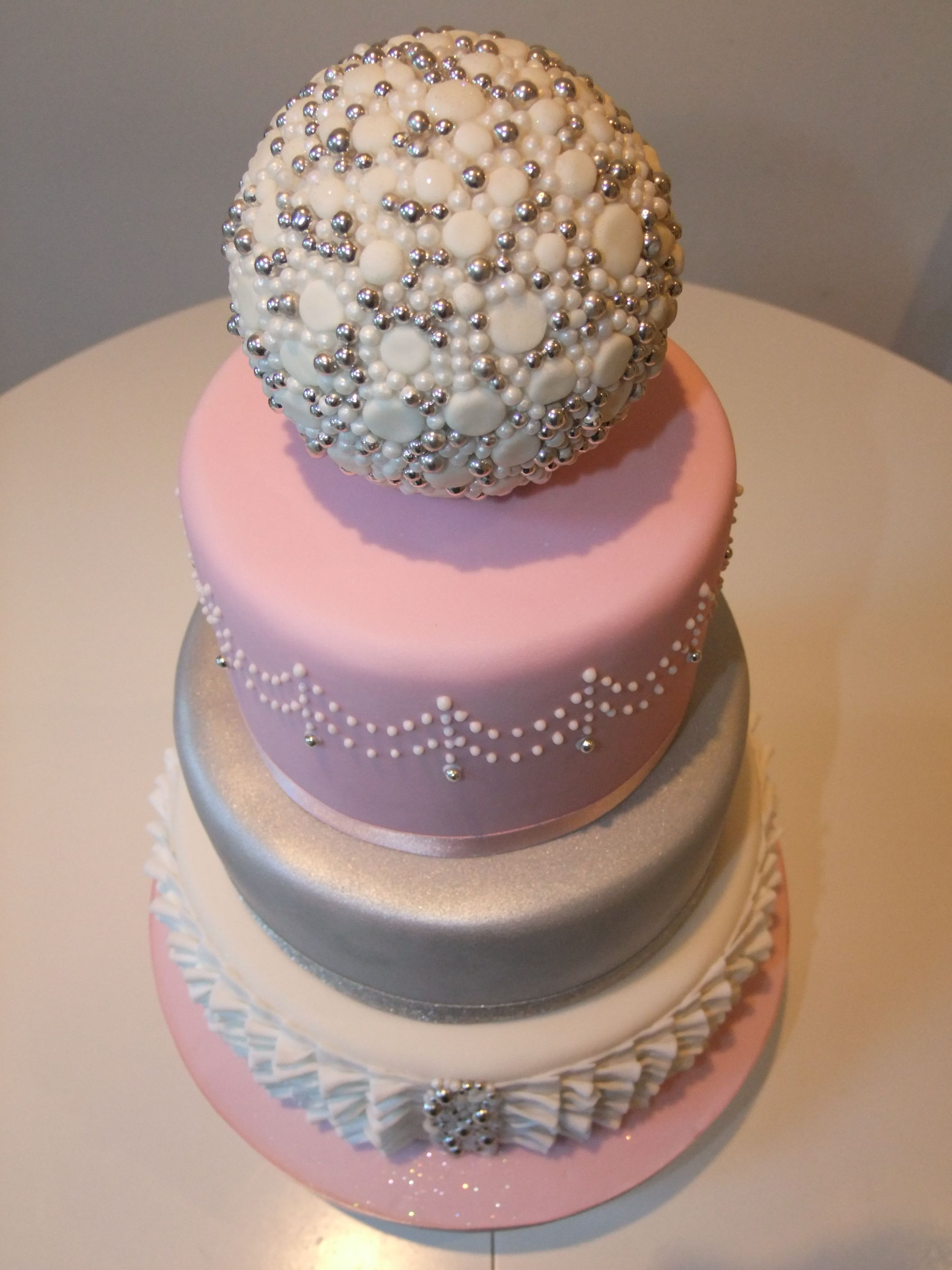 pink white and silver wedding cakes pink silver white ruffle wedding cake www 18601