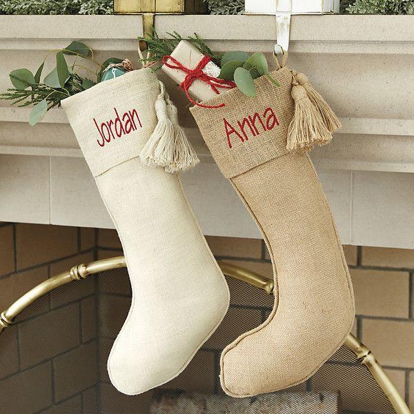 Ballard Designs Burlap Tassel Stocking Natural Featuring Polyvore Home Home Decor Holiday Decorations Natural Burlap Christmas Tree Skirt