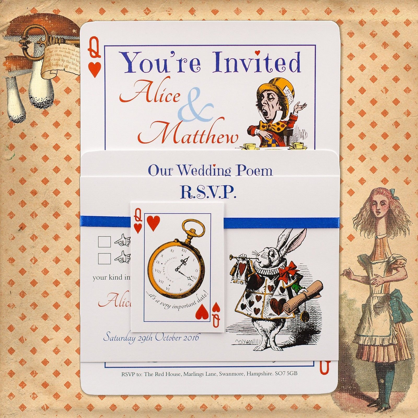 Personalised Vintage Alice in Wonderland Wedding Invitations inc ...