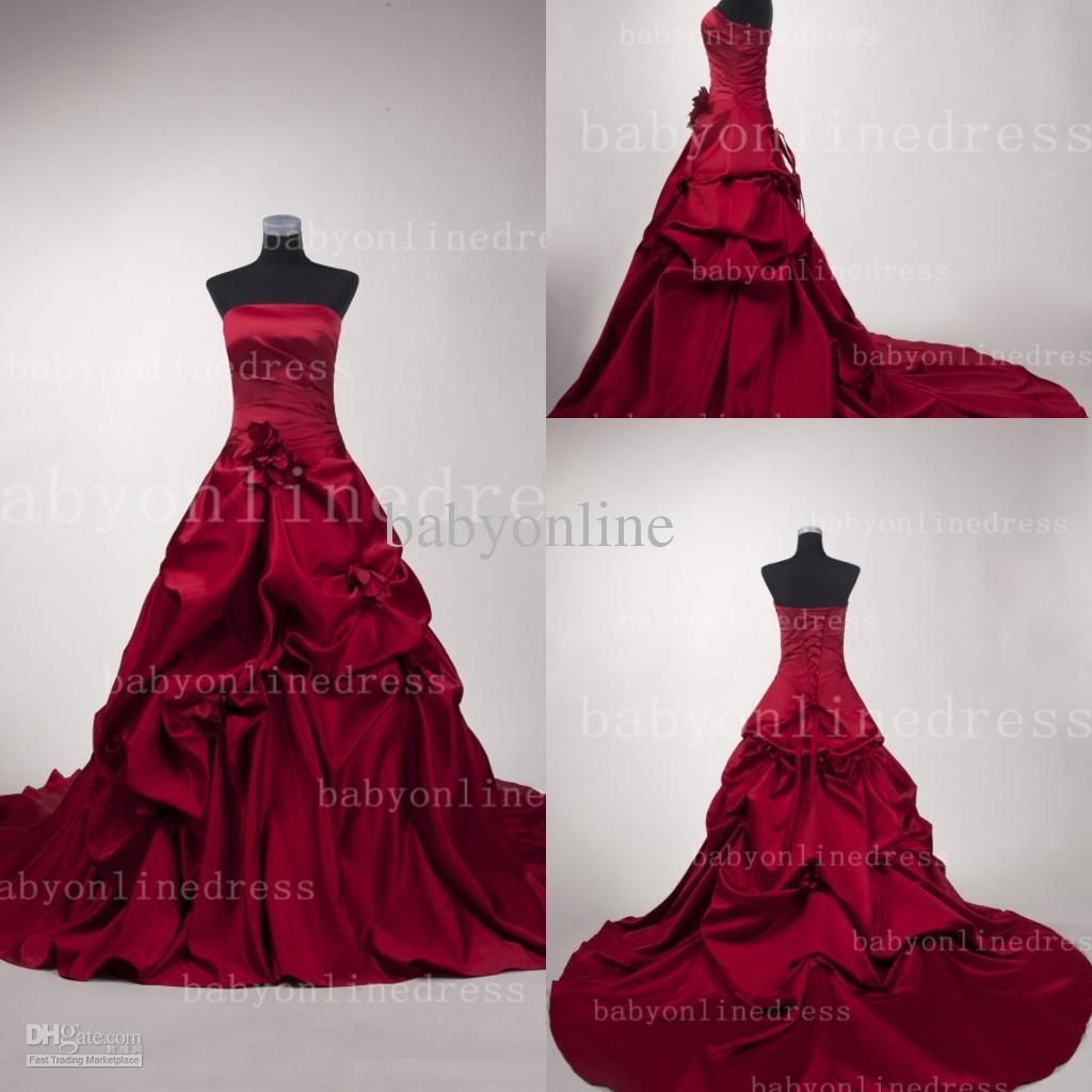 Wholesale prom dresses buy strapless court train laceup back red