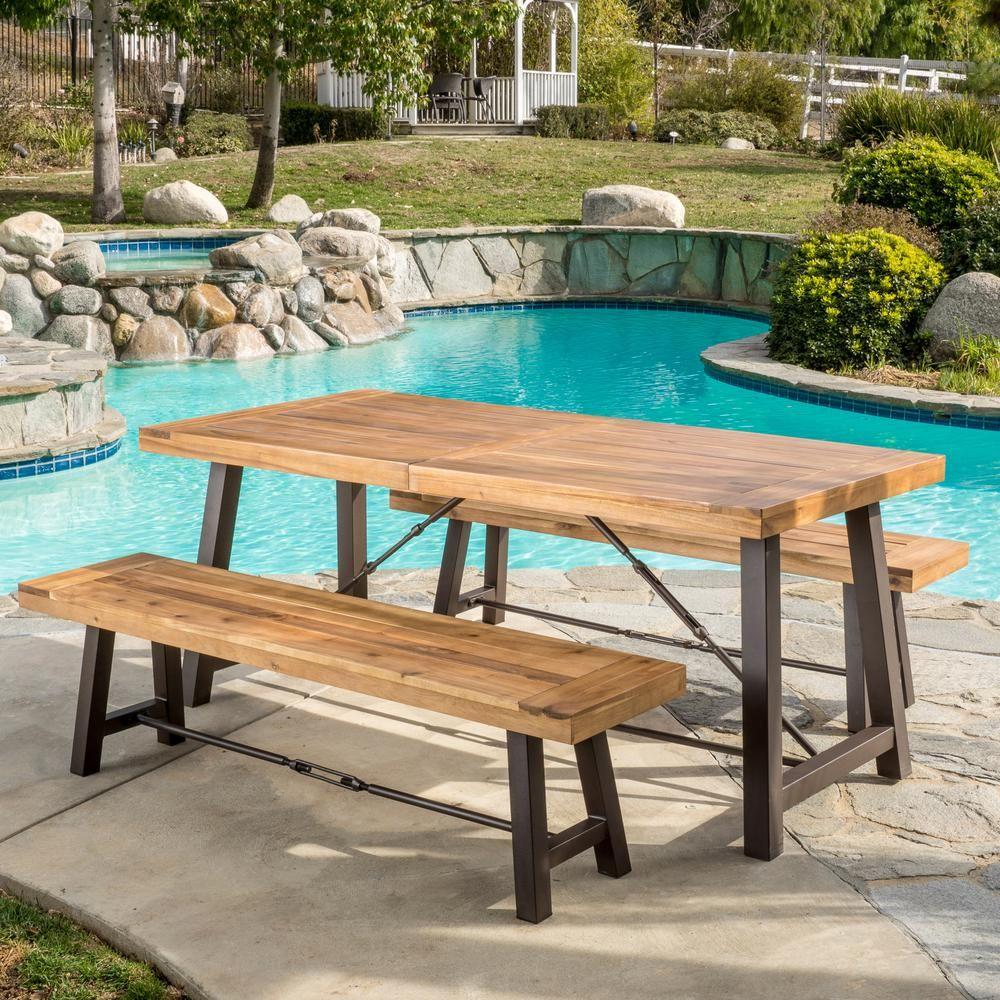Noble House Catriona Teak 3 Piece Wood Rectangular Outdoor Dining