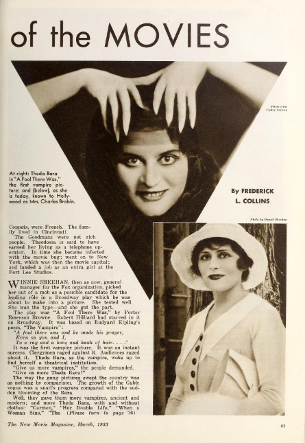 PG 2 Theda Bara Magazine Profiles From 1933 1920 DECAYING HOLLYWOOD MANSIONS
