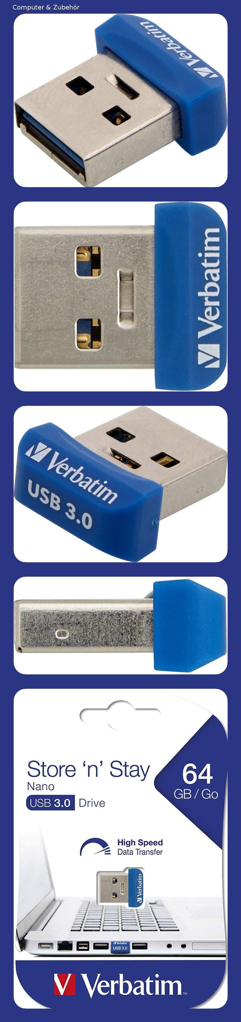 Verbatim Store N Stay Nano Usb 3 0 Stick 64 Gb Kleiner Usb Stick Mit Usb 3 0 Schnittstelle Superflaches Design Blau 98711 Usb Stick Usb Speicherstick