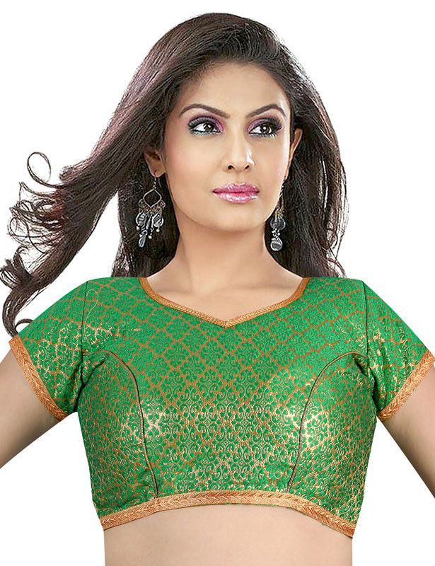 2de33d996df478 Parrot Green and Golden Brocade Blouse in 2019 | Readymade Blouses ...