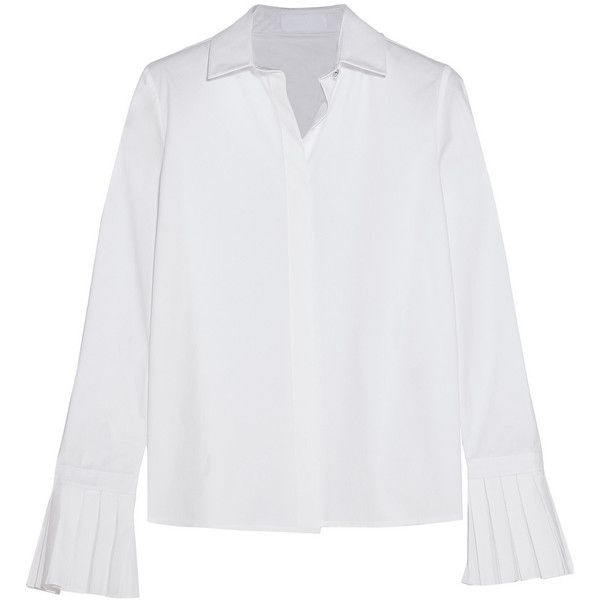 Co Pleated cotton-poplin shirt (£270) ❤ liked on Polyvore featuring tops, blouses, white top, flare shirts, cuff shirts, white shirt and white flare shirt