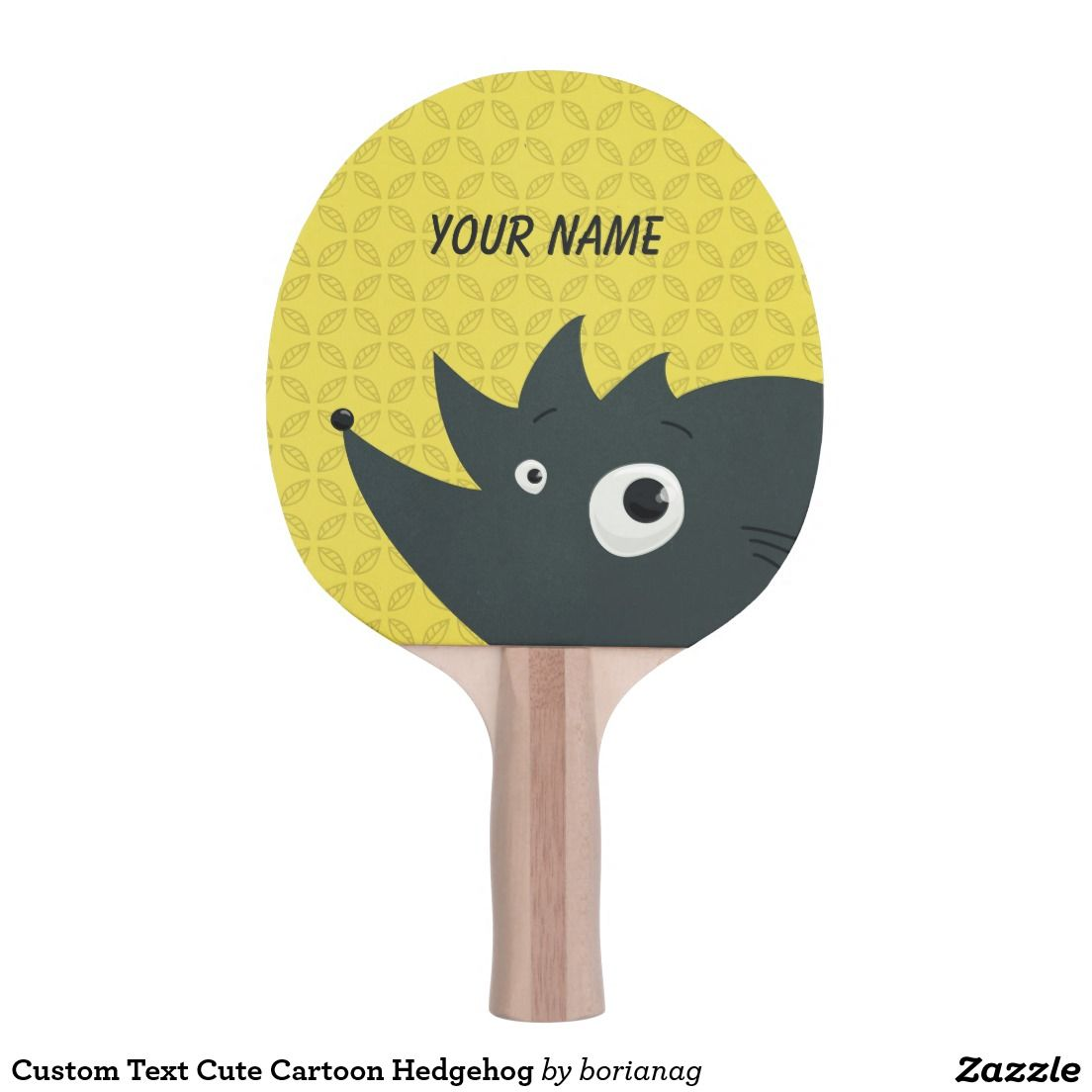 Custom Text Cute Cartoon Hedgehog Ping Pong Paddle Cute Cartoon Custom Zazzle