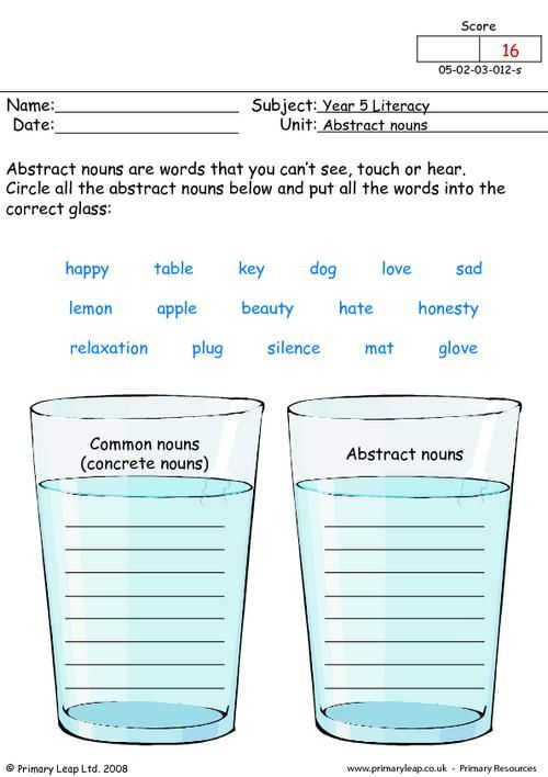 Abstract Nouns Worksheets For 3rd Grade: Concrete And Abstract Nouns ...