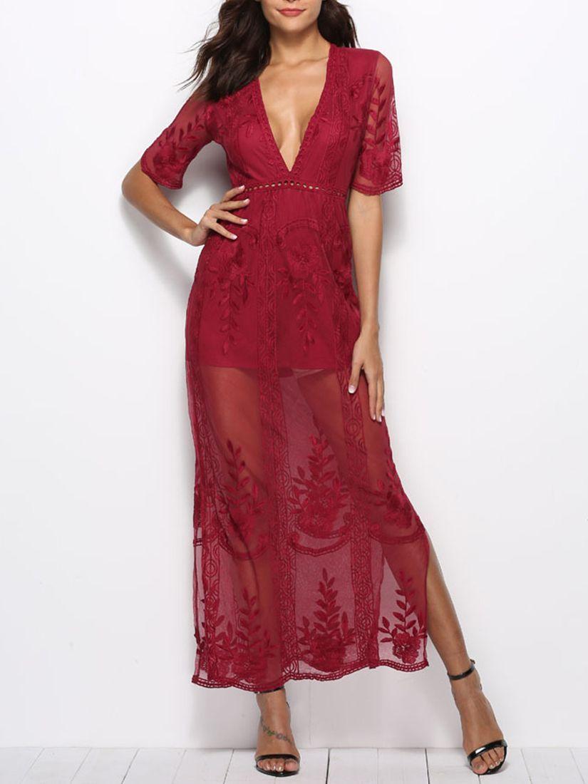 Lace see through short sleeves deep v long maxi dress maxi dresses