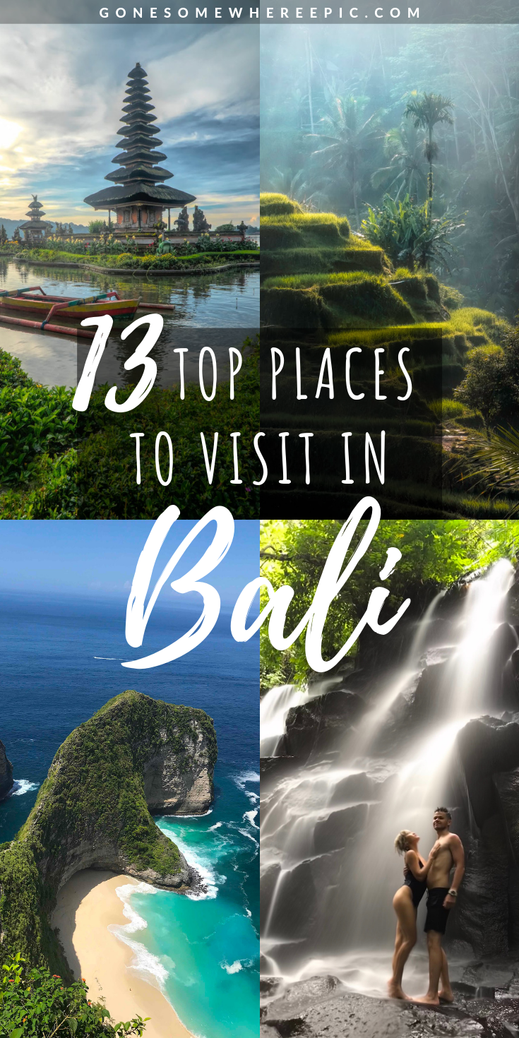 13 Top Places To Visit In Bali - the top 13 places in Bali that every visitor must see on their vacation to this Indonesian island.   Includes the best beaches, most instagrammable spots, best adventure activities, and the hidden gems that most tourists don't know about.   A compilation of the top spots that every traveller needs to add to their Bali itinerary for the ultimate vacation