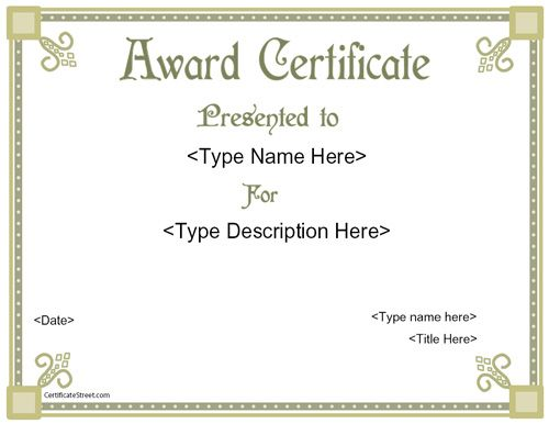 Award Certificates Pdf Free Award Certificates Recognition Award