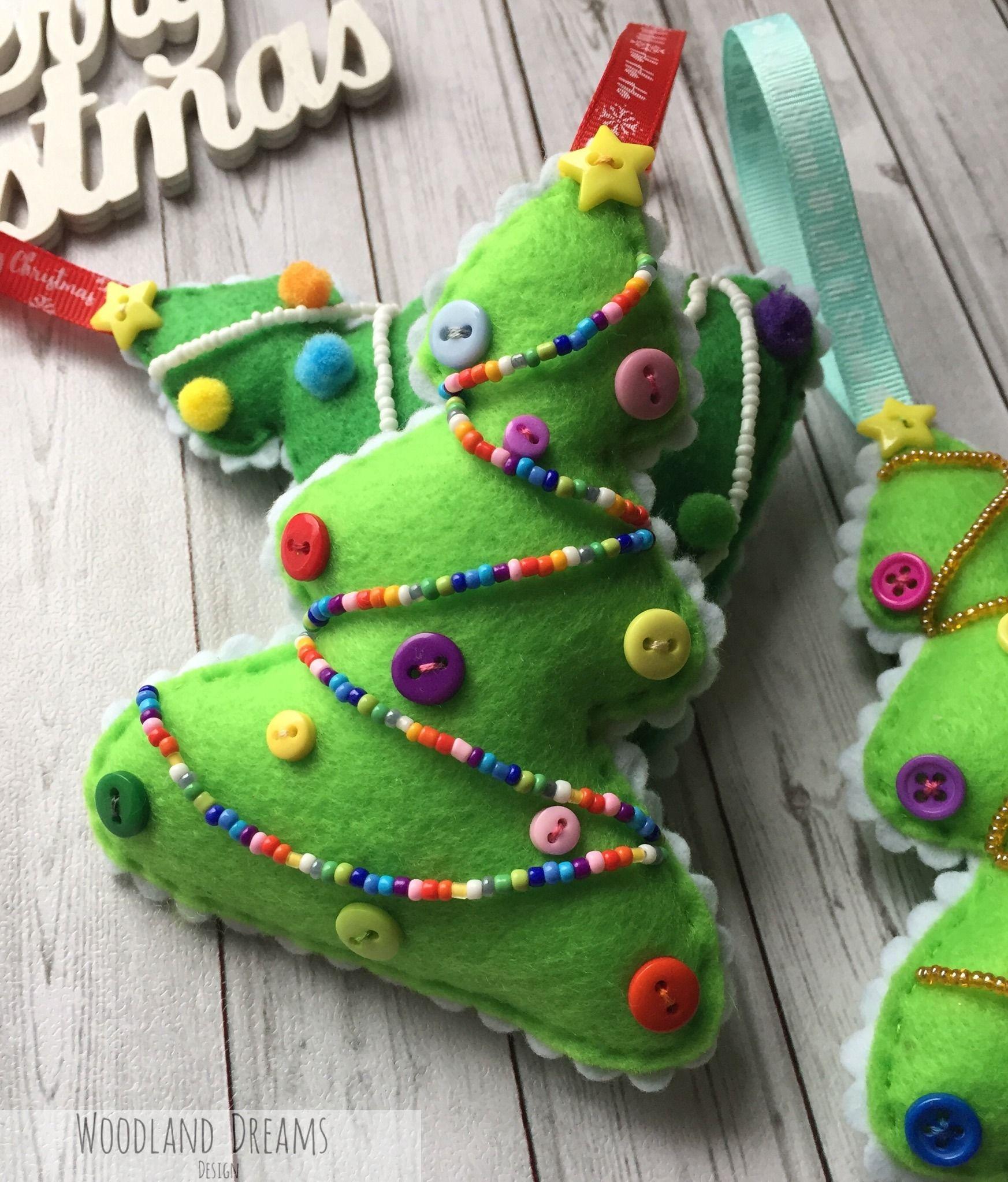 Embellished Beaded Handmade Felt Christmas Tree Ornaments Various Designs Felt Christmas Tree Felt Christmas Felt Christmas Ornaments