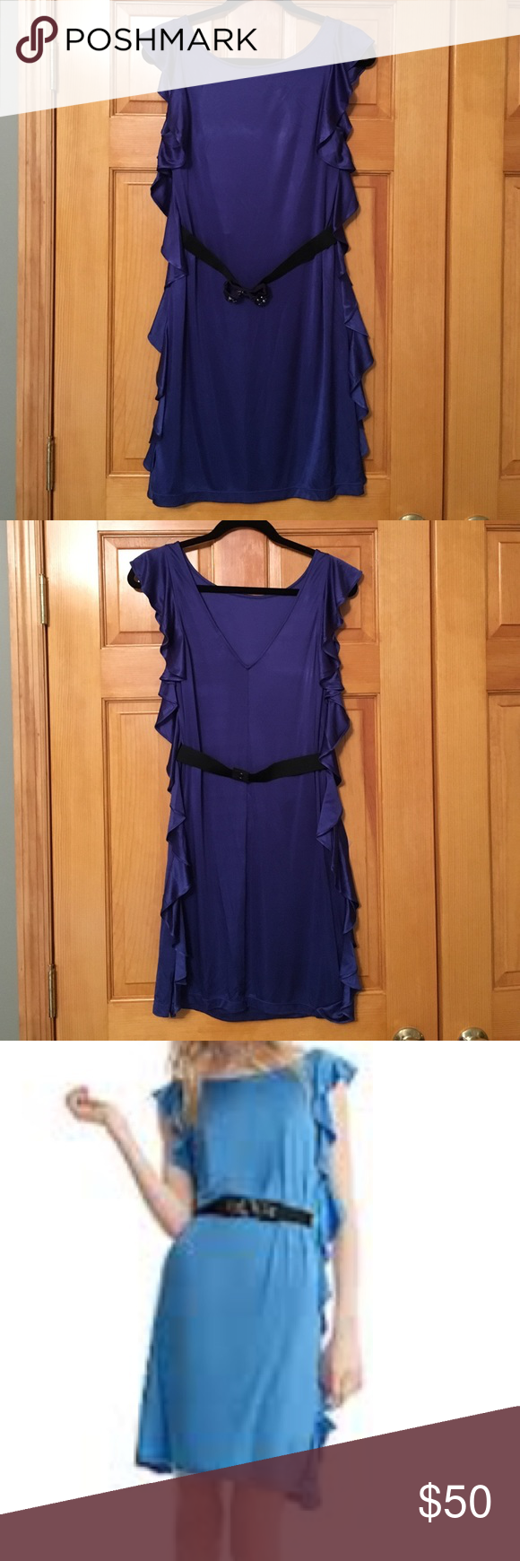 BCBG Bodycon Ruffle Side Blue Dress Same dress as 3rd and 4th picture, but darker blue.  Dress comes with elastic belt with embellished bow.  Really pretty slinky fabric!! BCBG Dresses Mini