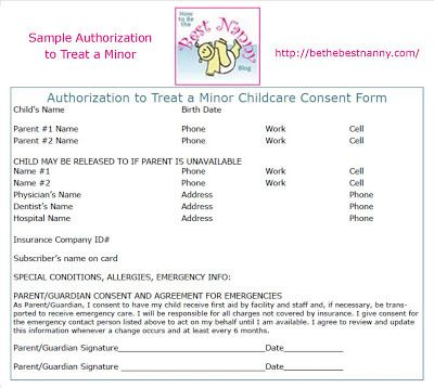 Authorizaton To Treat A Minor Make Sure The Parents You Work For