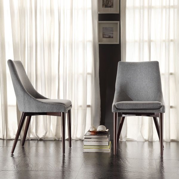 Sasha Midcentury Grey Fabric Upholstered Tapered Leg Dining Chairs Unique Grey Fabric Dining Room Chairs
