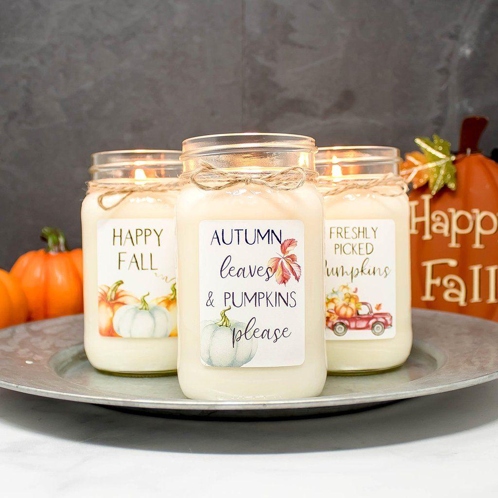 Fall farmhouse mason jar candle set of 3 farmhouse