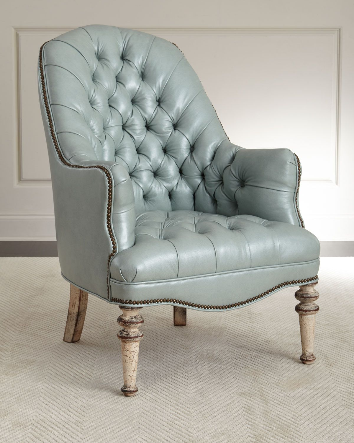 Old Hickory Tannery Mint TuftedLeather Chair White