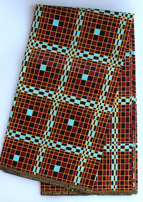 Brown Geometric African Cotton Fabric Dashiki Fabric Ankara Plaid