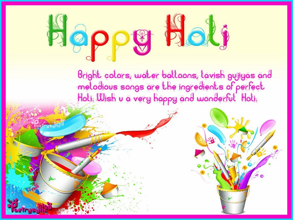 Happy Holi Card Picture Wishes and Greetings Quote Image