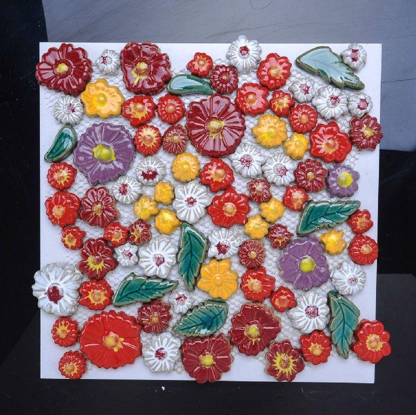 Hand Craft Flower Porcelain Mosaic Tiles Backsplash Pcmt072