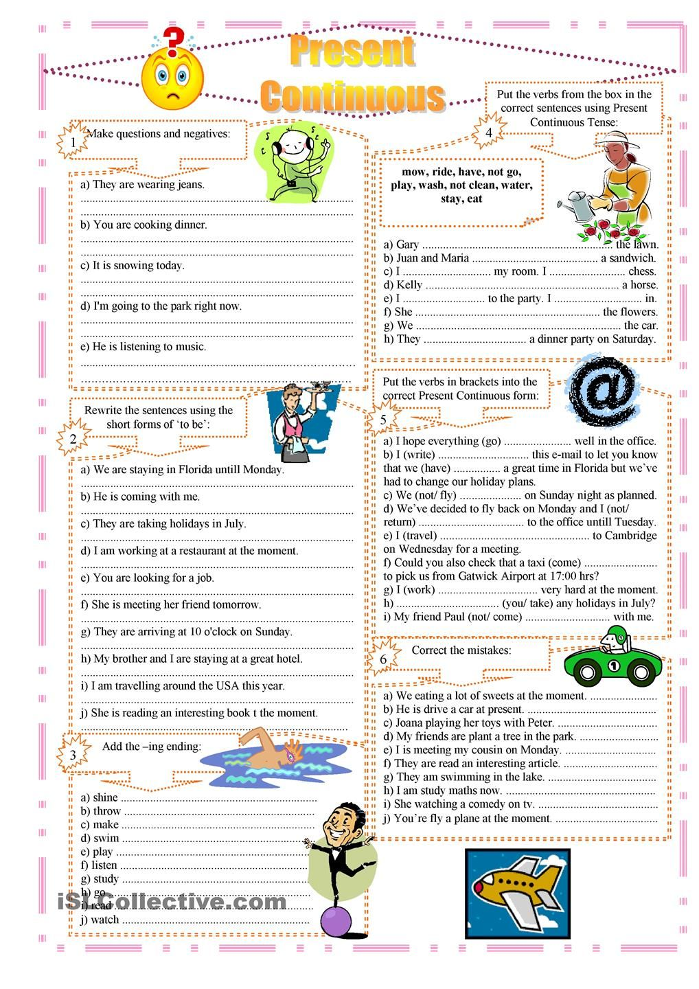 worksheet Present Progressive Worksheet present continuous exercises englishtenses pinterest student exercises