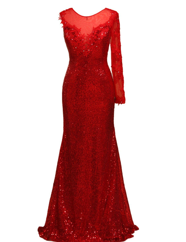 Lovingdress womenus prom dresses scoop long sleeves mermaid with