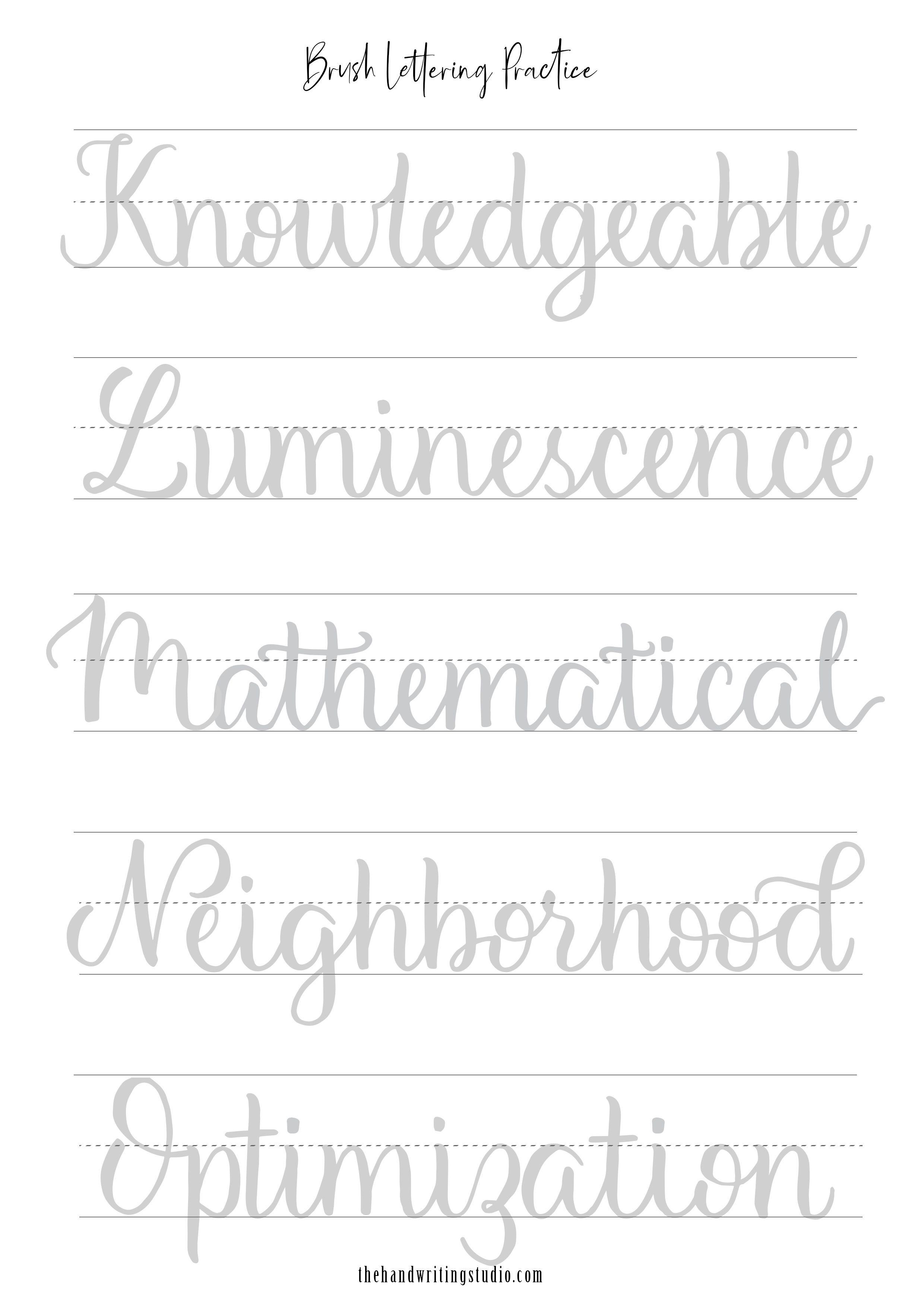 Brush Lettering Worksheets In