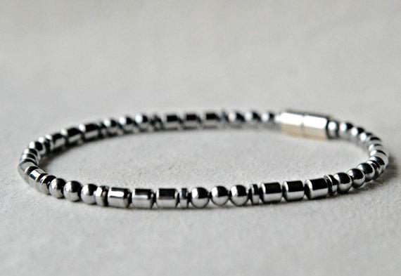Hematite 4mm Disc Bracelet