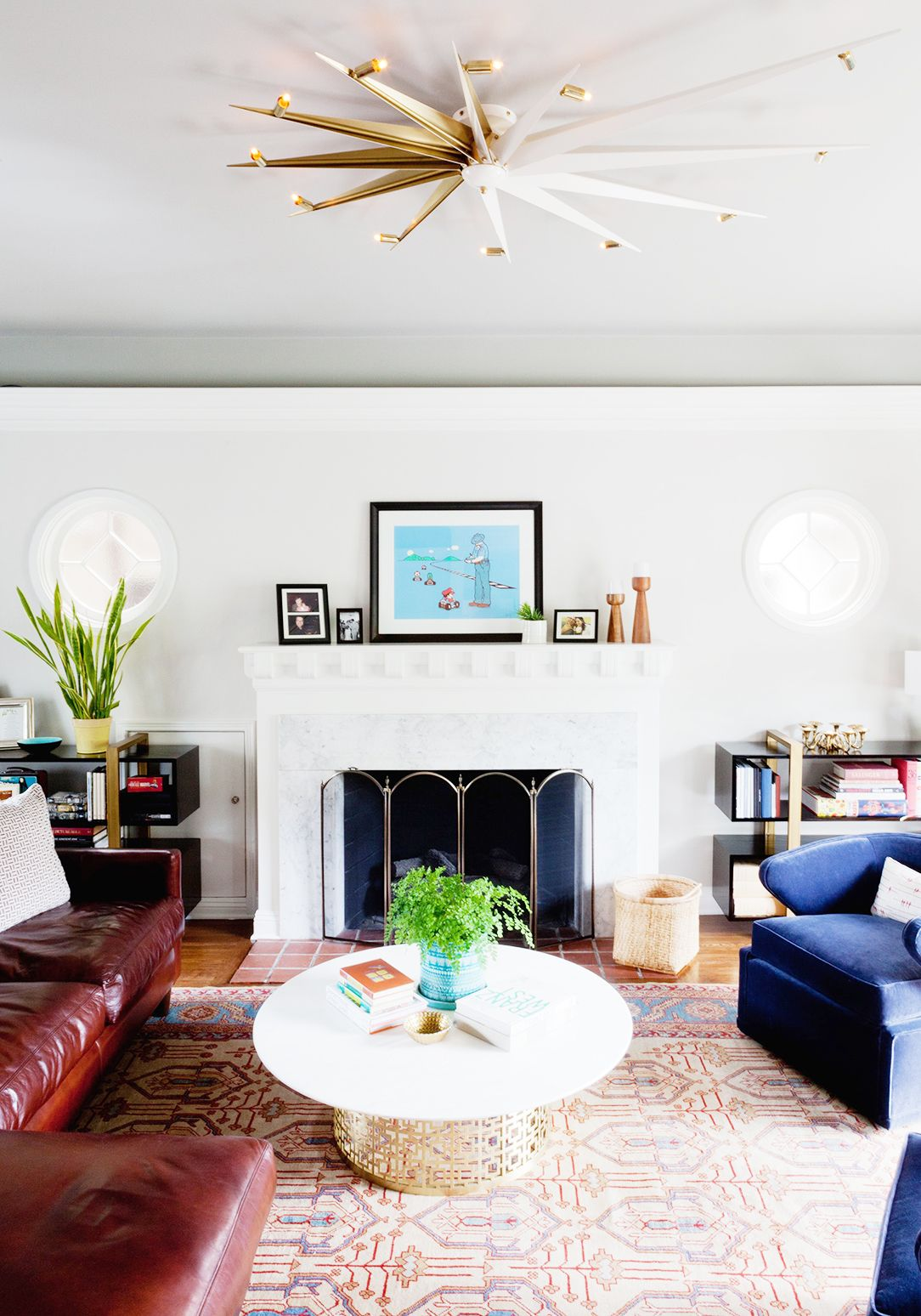 Home tour a youthful whimsical l a home colorful for Colorful whimsical living room