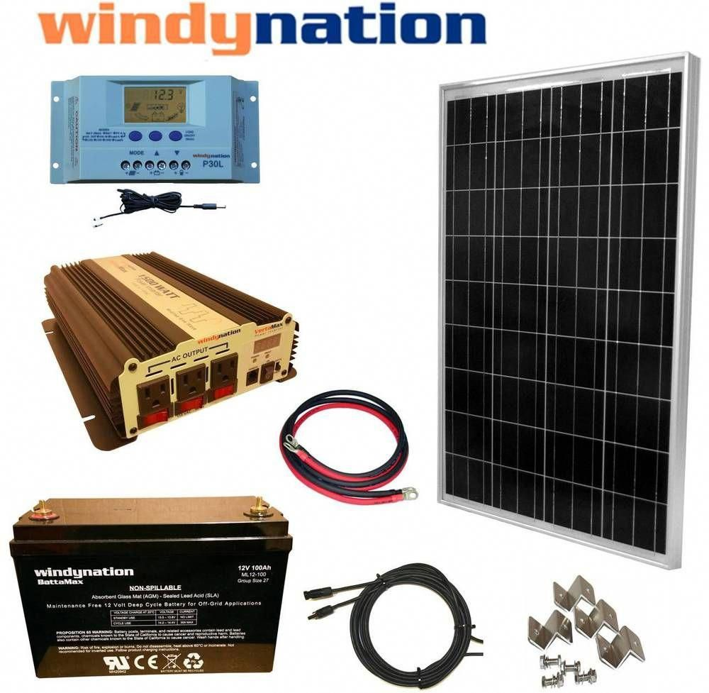 100w 12v Solar Panel Kit 1500w Inverter 100ah Agm Battery Rv Boat Off Grid Home Garden Home Improve In 2020 Best Solar Panels Solar Panel Kits 12v Solar Panel