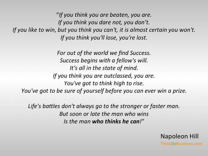 Napoleon Hill on thinking and believing about success ...