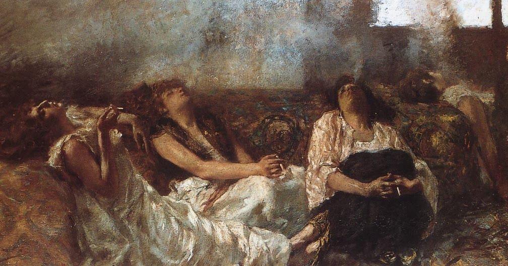 """Haschisch: fumatrici d'oppio   Gaetano Previati (1852-1920)    Galleria d'Arte Moderna """"Ricci Oddi""""     tela/ pittura a olio cm. 150 (la) 80 (a)  sec. XIX (1887 - 1887)    http://bbcc.ibc.regione.emilia-romagna.it/pater/loadcard.do?id_card=49581"""