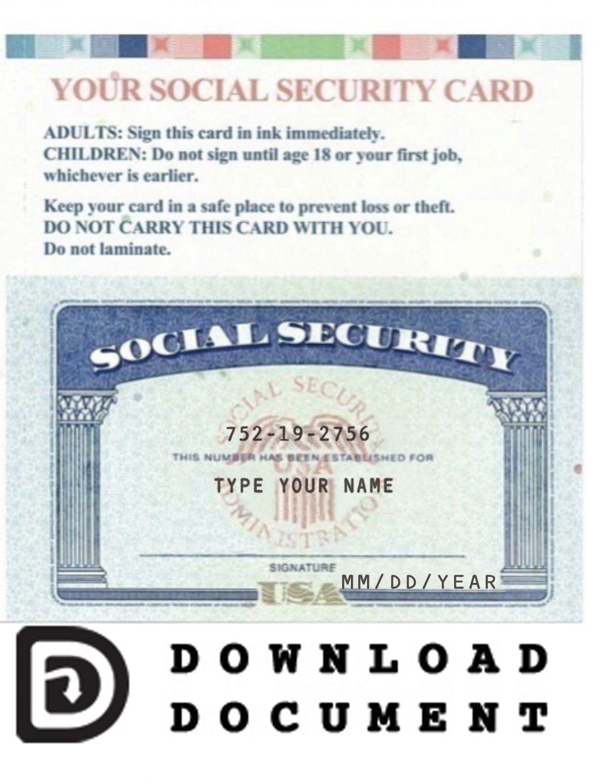 Social Security Card 03 In 2021 Social Security Card Card Template Templates